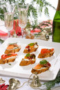 Canapes on holiday table Stock Photography