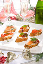 Canapes on holiday table Royalty Free Stock Photos
