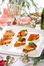 Canapes on holiday table Stock Images