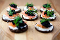Canapes with salmon and caviar Royalty Free Stock Photo