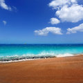 Canary Islands brown sand beach turquoise water Royalty Free Stock Photo