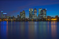 Canary wharf business district london s at night big buildings citi barclays state street and hsbc bank offices in view Stock Image