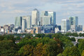 Canary wharf business district london uk view of from greenwich park south east Royalty Free Stock Photos