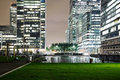 Canary Wharf business district at night time Royalty Free Stock Photo