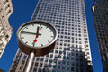 Canary Wharf clock and skyscrapers in the financial center of Lo Royalty Free Stock Photo
