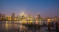 Canary Wharf by night , London Royalty Free Stock Photo