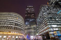 Canary wharf office buildings in corporate night scene in london Royalty Free Stock Photo