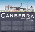 Canberra Skyline with Gray Buildings, Blue Sky and Copy Space.