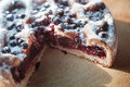 Canberry cake with blackberry on a wooden table Royalty Free Stock Photography