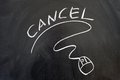 Cancel word and mouse sign drawn on the blackboard Royalty Free Stock Photography