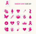 Cancer awareness elements icon set eps file breast ribbon symbol and health care icons organized in layers for easy editing Royalty Free Stock Photo
