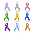 Cancer awareness ribbon set clipping path of ribbons with includes eye children brain and colon symbols Stock Images