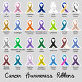 Cancer awareness various color and shiny ribbons for help stickers eps10