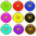 Cancer horoscope buttons Stock Image