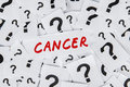 Cancer word and question marks the of surrounded by many Stock Photography