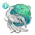 Cancer zodiac sign.Horoscope circle.Watercolor Royalty Free Stock Photo