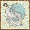 Cancer zodiac sign.Vintage Horoscope card