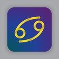 Cancer zodiac vector sign, horoscope symbol, astrology line icon Royalty Free Stock Photo