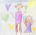 Candid children color pencil drawing with happy father and daughter Royalty Free Stock Image