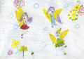 Candid children color pencil drawing with three little fairies flying Royalty Free Stock Photos