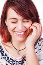 Candid real laugh of natural happy woman Royalty Free Stock Photos