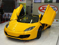 Candid street st belgrade international car show march mclaren mp c spider Royalty Free Stock Photo