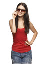 Candid young woman in sunglasses beautiful on white background Royalty Free Stock Photo