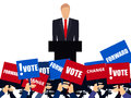 Candidate of party involved in debate. Presidential candidate. Election campaign. Speech from the rostrum.