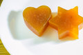 Candied fruit jelly apricot in the form of heart and star of David Royalty Free Stock Photo