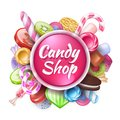 Candies background. Realistic sweets and desserts frame with text, colorful toffees lollipops and caramel bonbon. Vector