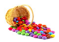 Candies in a basket colorful sugar coated chocolate Stock Images