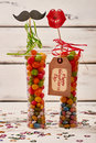 Candies in vase and tag. Royalty Free Stock Photo
