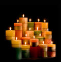 Candle and candlelight on black baclground background fire candlewick is motionless not waver Royalty Free Stock Image