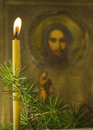 Candle coniferous branch old icon Stock Images