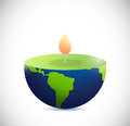 Candle earth globe illustration design over a white background Stock Images