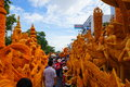 Candle festival in thailand the parade candles carving contest at nakhon ratchasima province Stock Photo