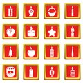 Candle forms icons set red square vector