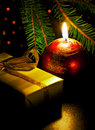 Candle and gift box Royalty Free Stock Image