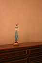 Candle holder on table at Mission La Purisima Royalty Free Stock Photo