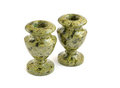 Candle holders made ​​of green stone Royalty Free Stock Photos