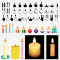 Candle icon and vector drawing set all in one place draw icons Royalty Free Stock Images