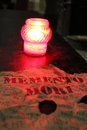 Candle and inscription memento mori in church Royalty Free Stock Images