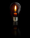 Candle on light bulb Royalty Free Stock Images