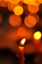 Candle light close up the with boke Royalty Free Stock Images