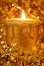 Candle light in sparkles and stars Royalty Free Stock Image