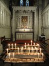 Candle lit abbey interior photographed at buckfast in buckfastleigh in devon Stock Images