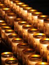 Candle of prayer in cathedral Royalty Free Stock Image