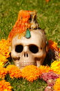 Candle and skull Royalty Free Stock Photography