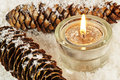 Candle in snow Royalty Free Stock Photos