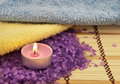 Candle, towels, bath salt Royalty Free Stock Photography